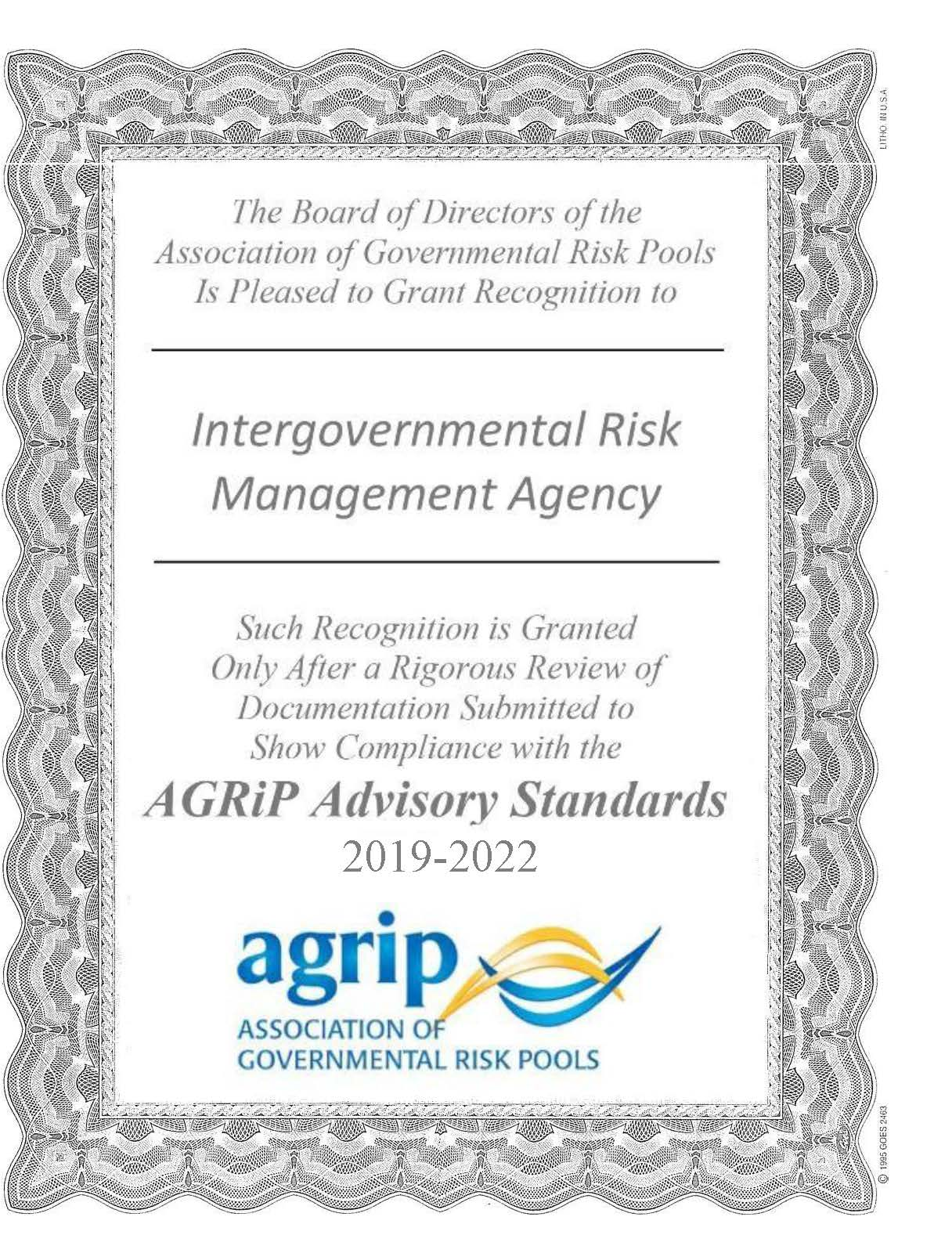 AGRIP Certificate