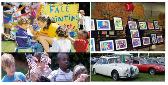 Facepainting; artwork; children with flags; classic cars